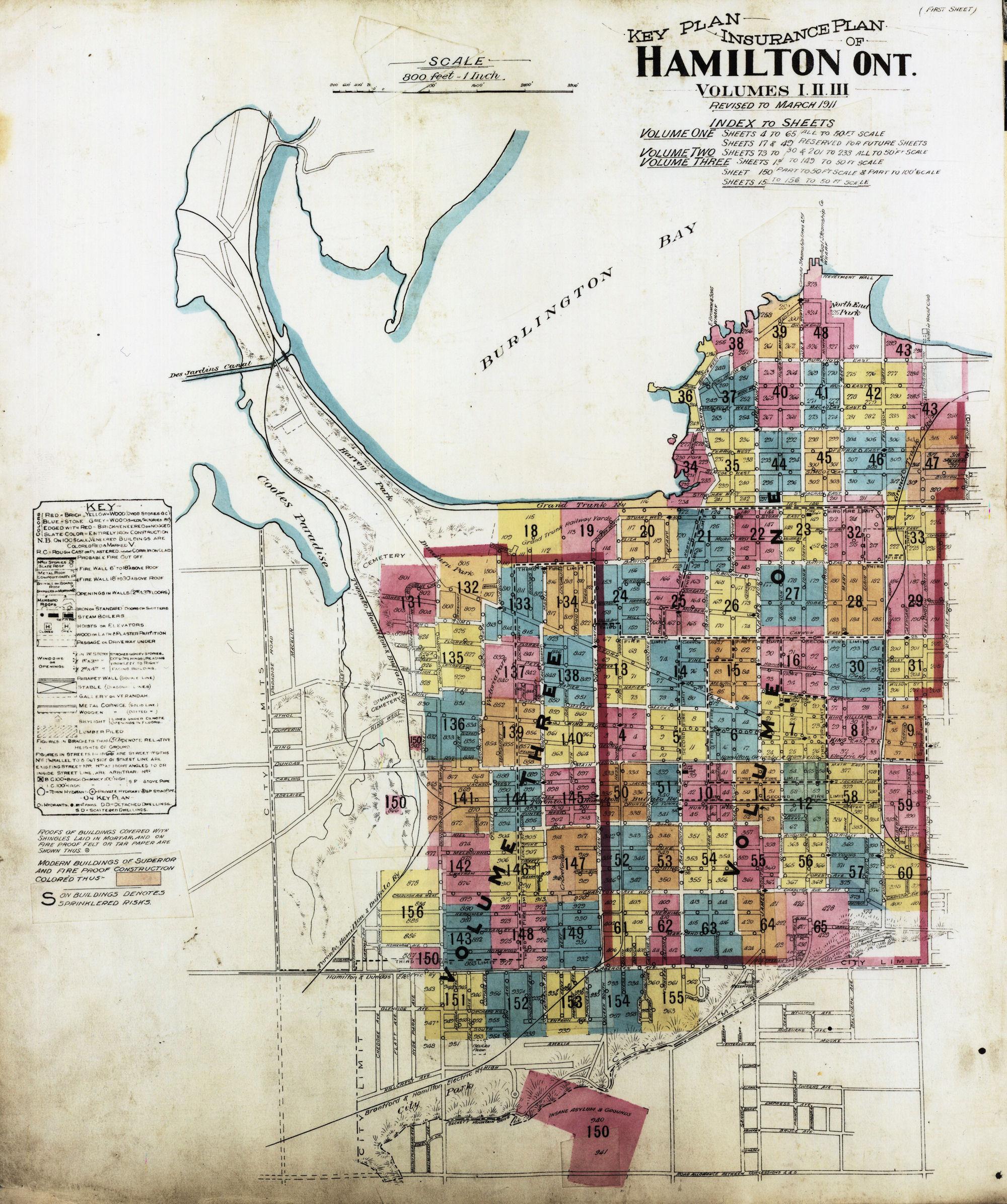 Key Plan to 1911 FIP of Hamilton