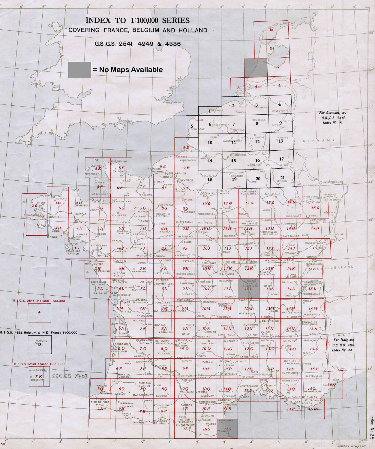 100k Index to WWII topo maps of France Belgium Holland – Map of France and Belgium