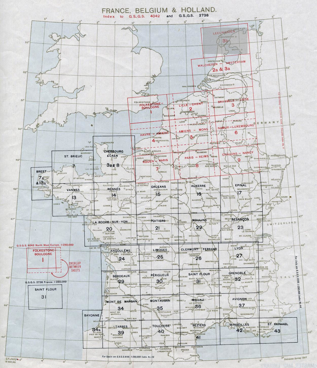 250k Index to WWII topo maps of France & NW Europe
