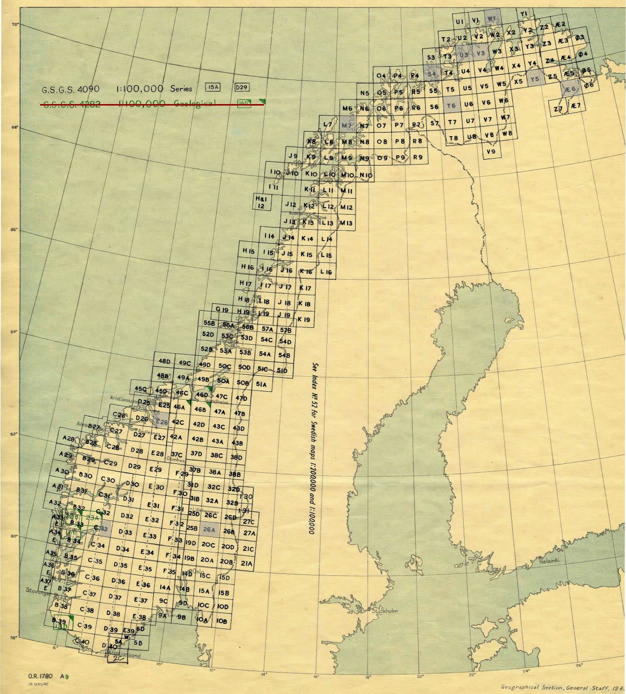 K Index To WWII Topo Maps Of Norway - Norway topographic map