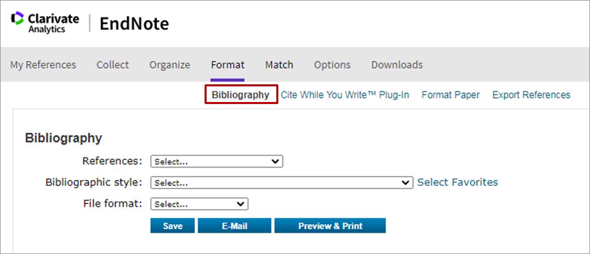EndNote Bibliography screen