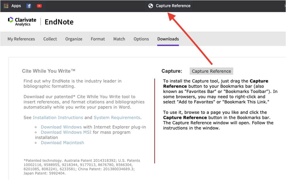 EndNote Downloads screen - Capture Reference