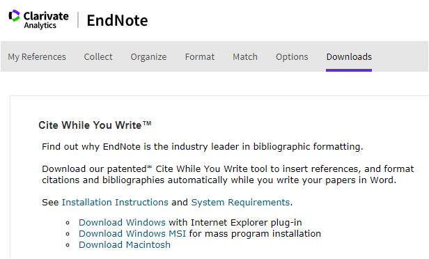 Endnote Cite While Your Write Plugin Download screen