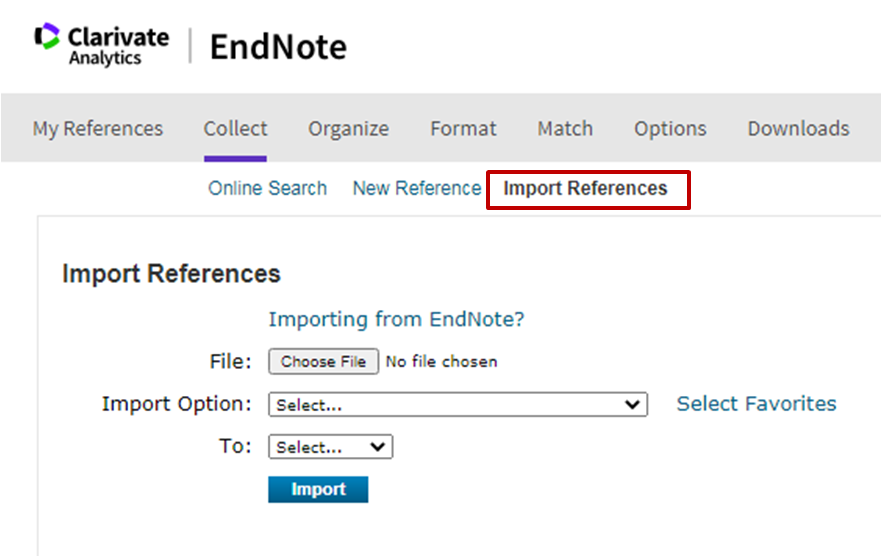 EndNote Import References screen