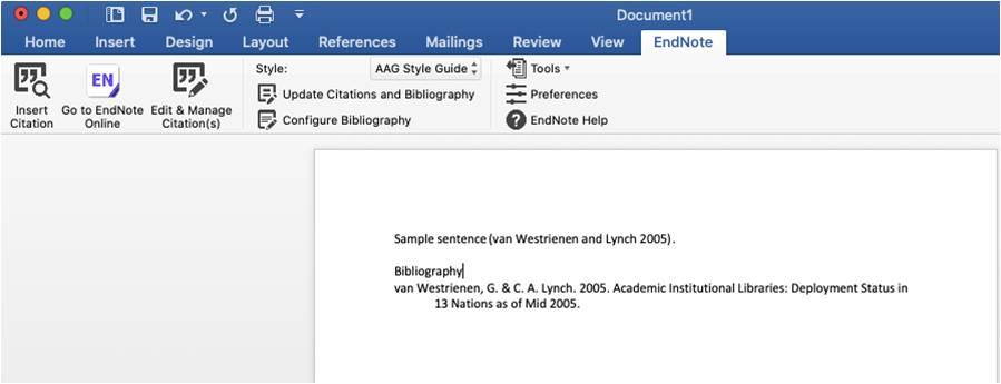 EndNote tab in Microsoft Word