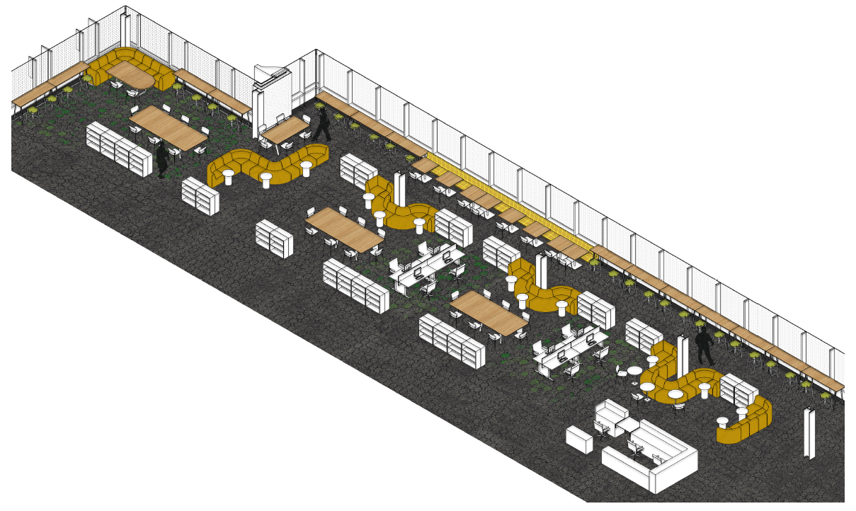 Axonometric drawing  of the new Innis Library looking North East