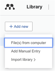 Add New option in Mendeley
