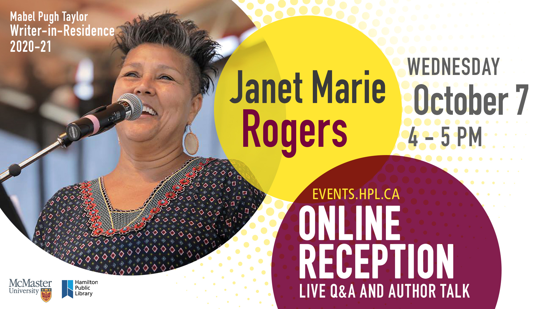 Poster promoting the Oct 7 virtual reception with Janet Rogers