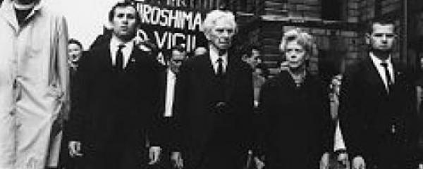 Bertrand Russell, Edith Russell, and others march in protest of Nuclear War.