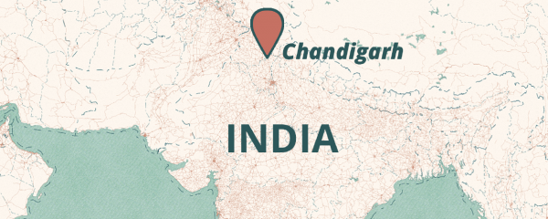 map pointing to Chandigard, India