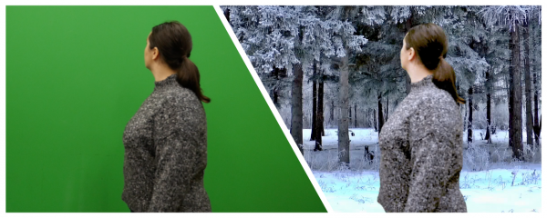 someone walking in front of a green screen on the left and placed into a snowy environment on the right