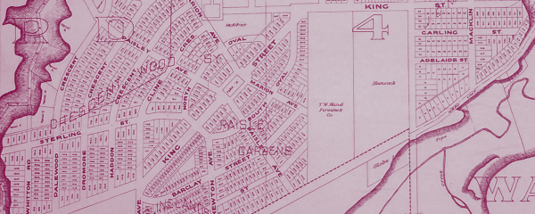 A street map of the Westdale area of Hamilton from Tyrrell's Atlas of the City of Hamilton, 1924. Ref. no. 107498
