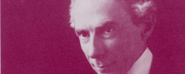 Three quarter profile of Bertrand Russell against blank background.