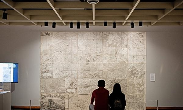 A large scale map of the Austrian Netherlands produced during the Napoleonic era hangs in the McMaster Museum of Art.