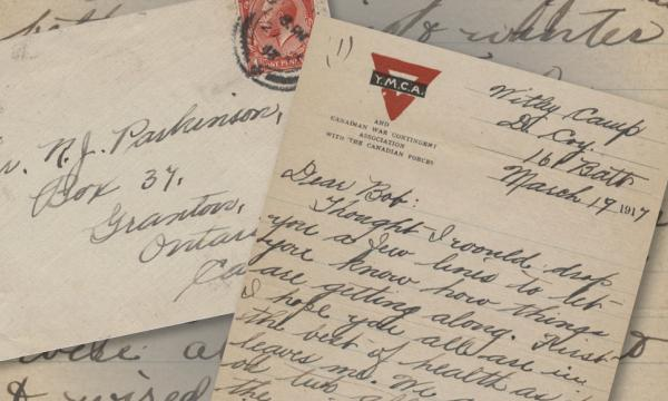 A collage of letters written by Private Gordon William Parkinson in 1917 to his brother, Bob