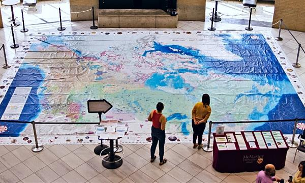 The 11 x 8 metre Indigenous Peoples Atlas of Canada Giant Floor Map, created by Canadian Geographic, is on display in MUSC Marketplace