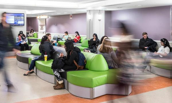 The first floor lobby seating area in McMaster University's Mills Library.