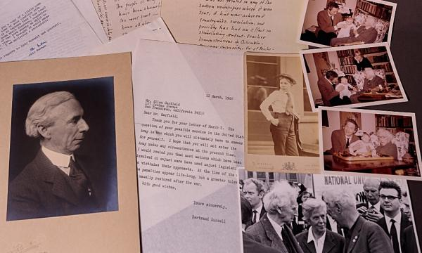 Selection of documents and photos included in the collection of materials shedding new light on the later years of Bertrand Russell