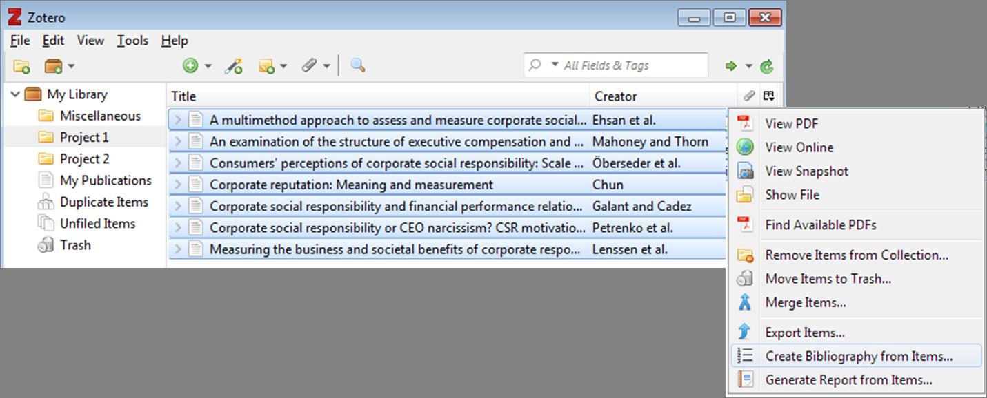Zotero Create Bibliography from Items window