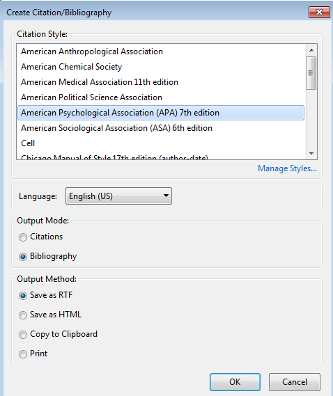 Zotero Create Citation/Bibliography window
